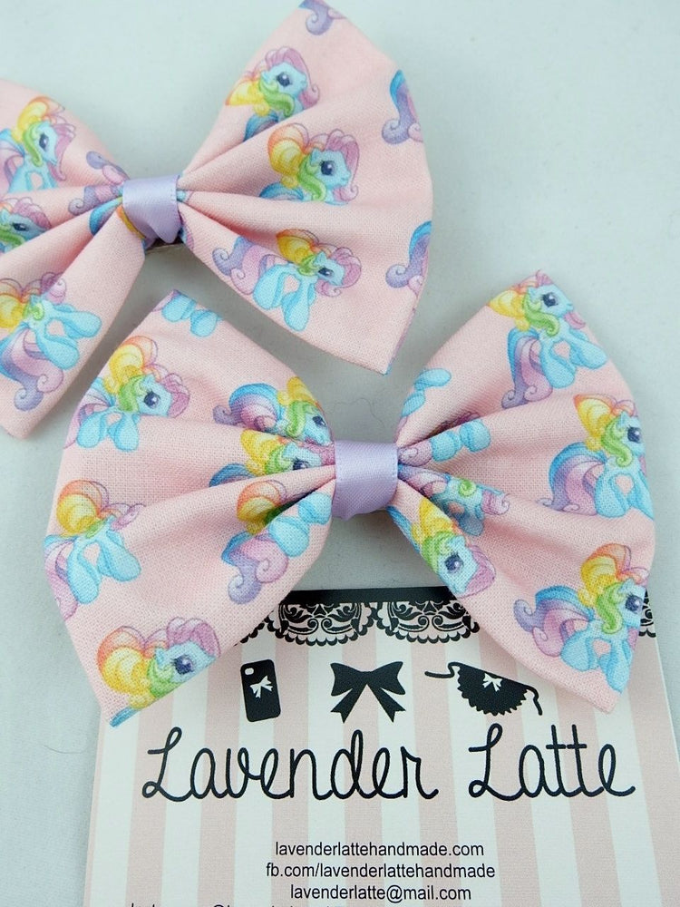 My Little Pony Kawaii Pink Handmade Fabric Hair Bow - Ponies with Rainbow Mane