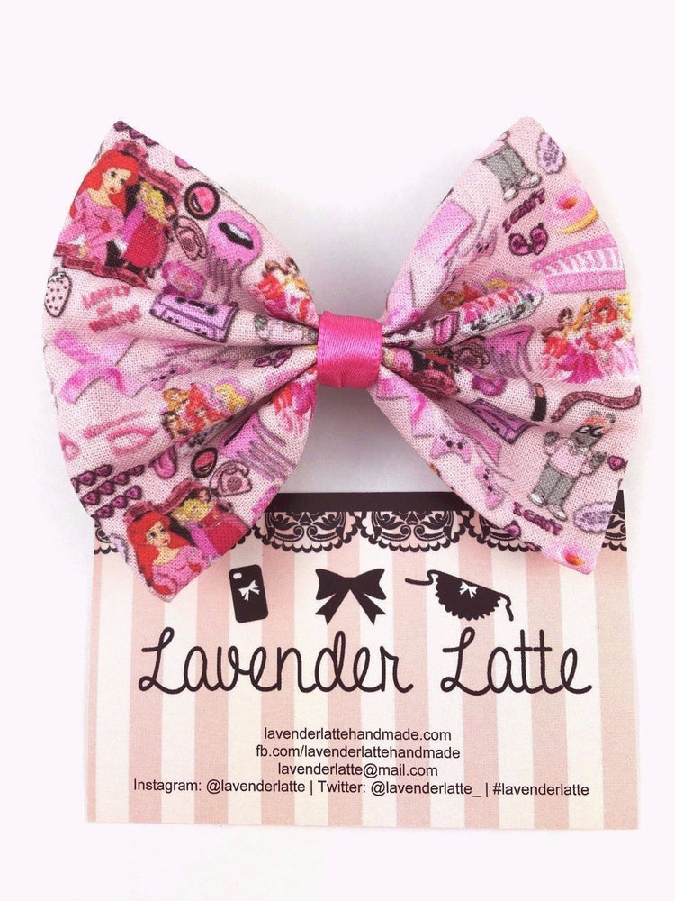 90s Girly Tumblr Girl Handmade Pink Hair Bow with Kawaii Cartoon Characters