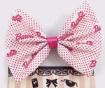 CLEARANCE! Pink Polkadot Barbie Girl Handmade Hair Bow Girly Fabric Hair Clip