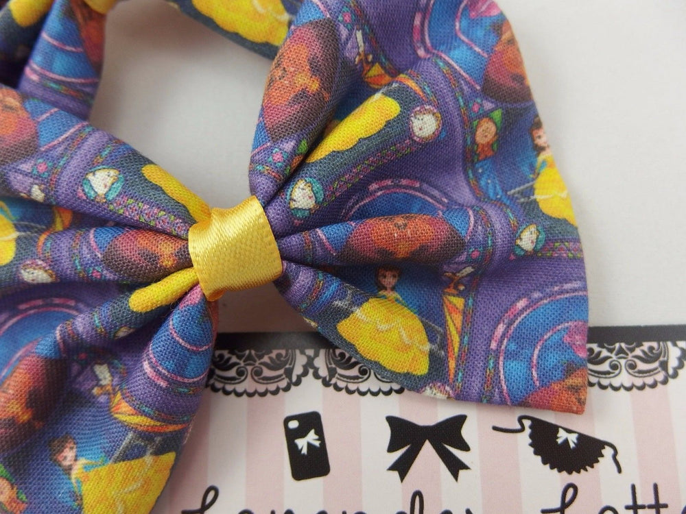 Beauty and the Beast Handmade Fabric Hair Bow Navy Princess Hair Clip