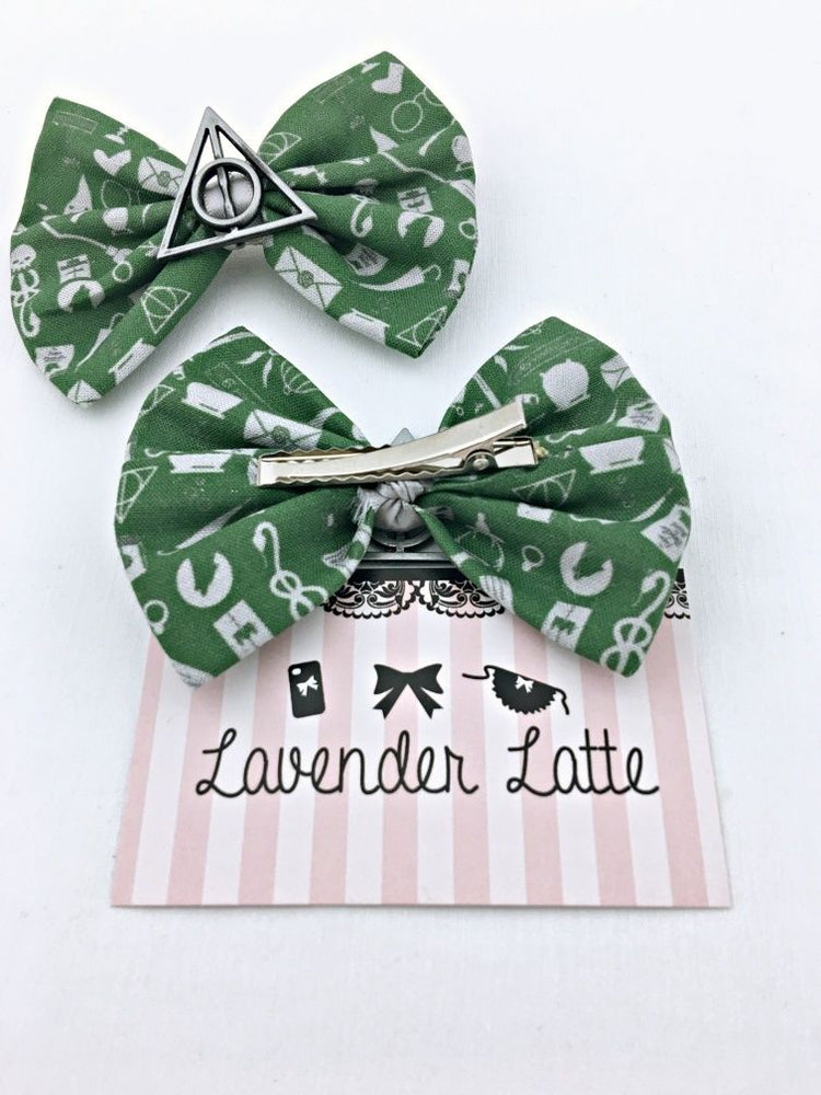 Green /& SIlver Slytherin Harry Potter Icons Fabric Hair Bow with Deathly Hallows