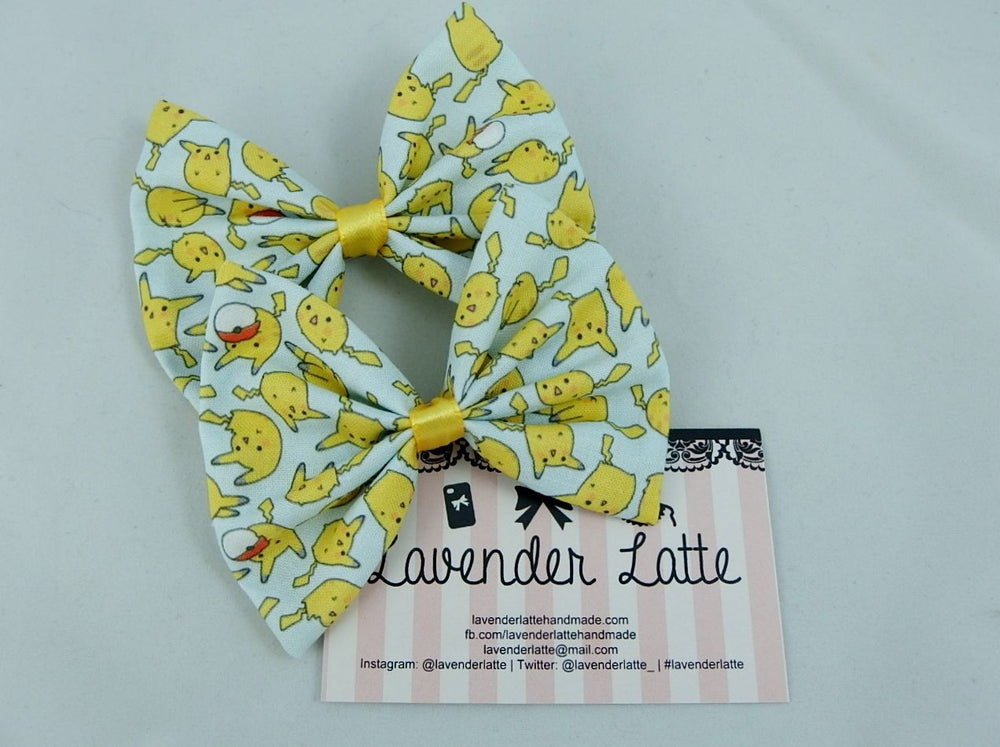Pikachu Pokemon Kawaii Pokeball Pastel Fabric Hair Bow 90s Kid Pastel Blue Clip