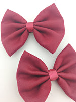 Burgundy Fabric Medium Hair Bow - Deep Red Solid Colour Hair Clip
