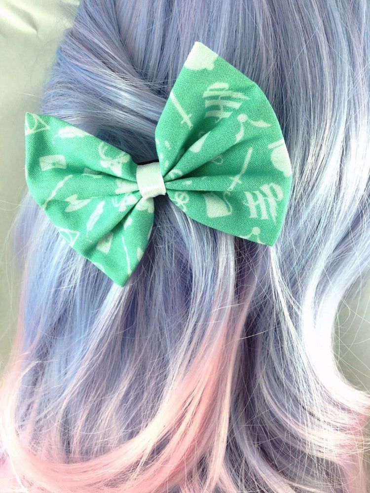 Pastel Mint Harry Potter Inspired Fabric Hair Bow - Hogwarts Handmade Hair Clip
