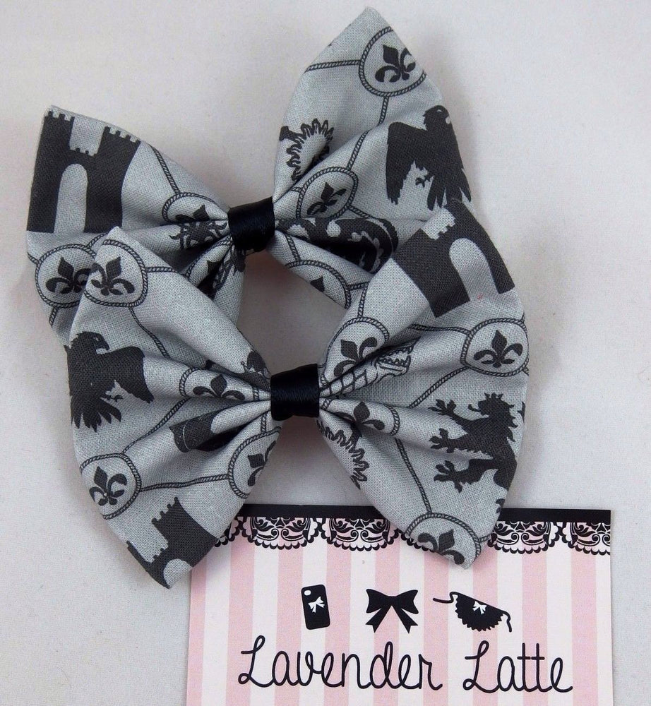 CLEARANCE! Game of Thrones Handmade Hair Bow House Crests Grey and Black GoT