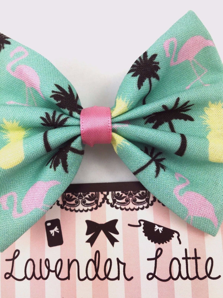 Summer Flamingos - Pastel Mint Hair Bow - Flamingo Palm Tree & Pineapple Print