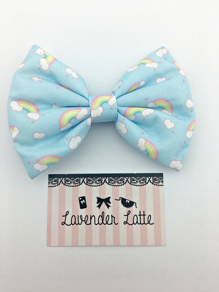 Kawaii Pastel Blue Rainbow & Clouds Handmade Large Hair Bow Hair Clip Fairy Kei