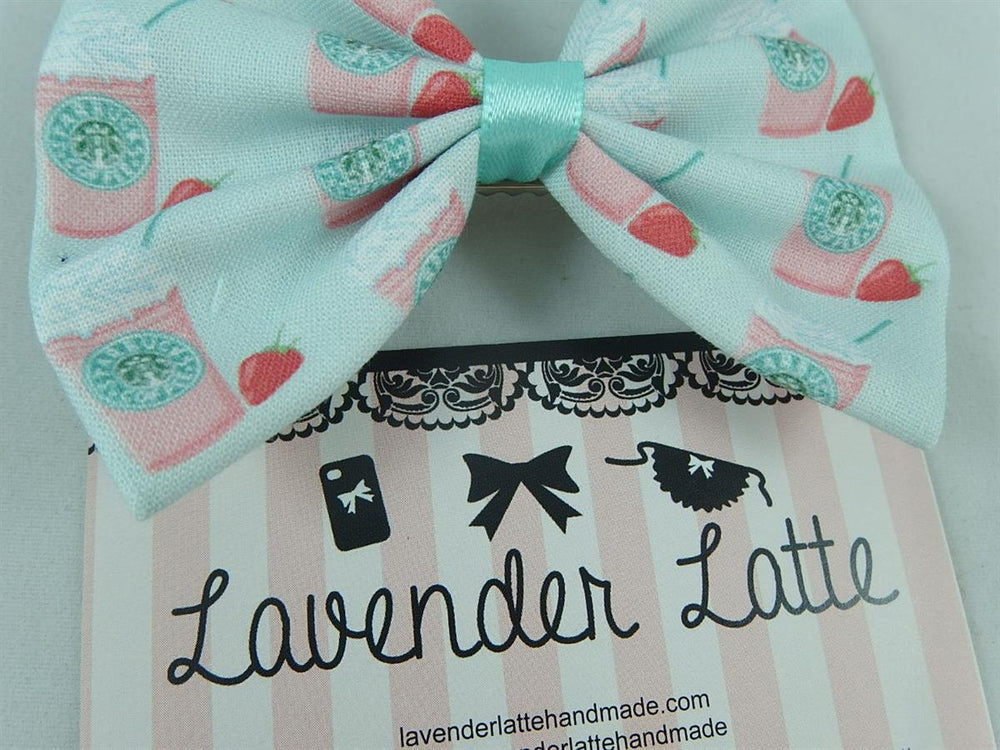 Strawberry Frappe Mint Green Fabric Hair Bow Handmade Coffee Kawaii