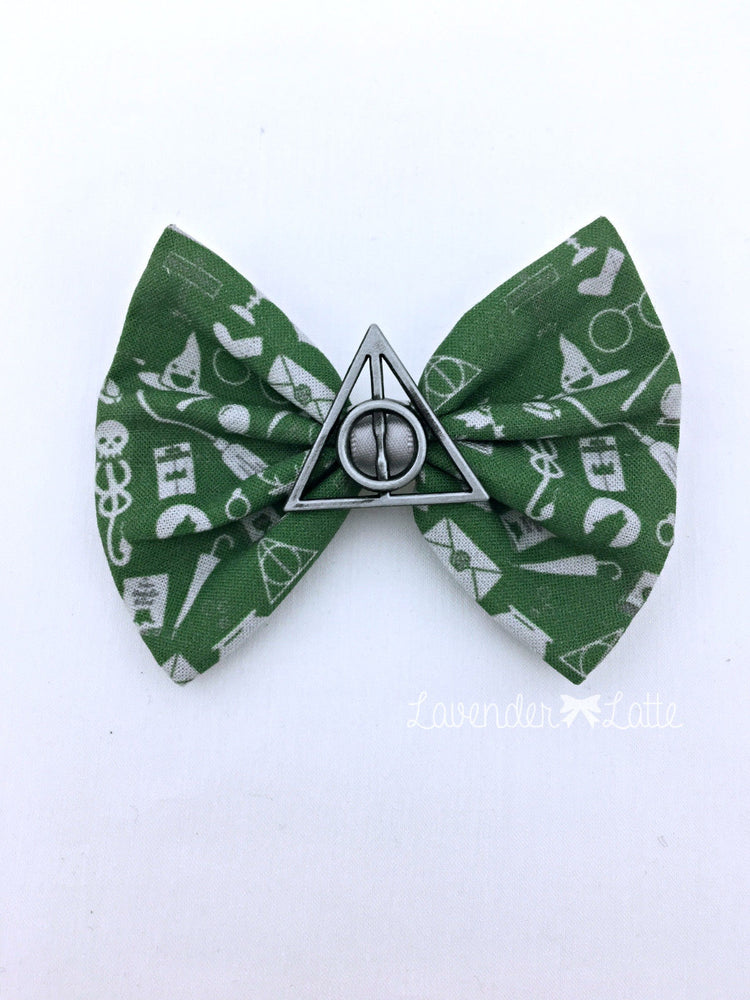 Green & SIlver Slytherin Harry Potter Icons Fabric Hair Bow with Deathly Hallows