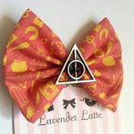 Red Harry Potter Deathly Hallows Icons Hair Bow Hogwarts Geeky Hair Accessories