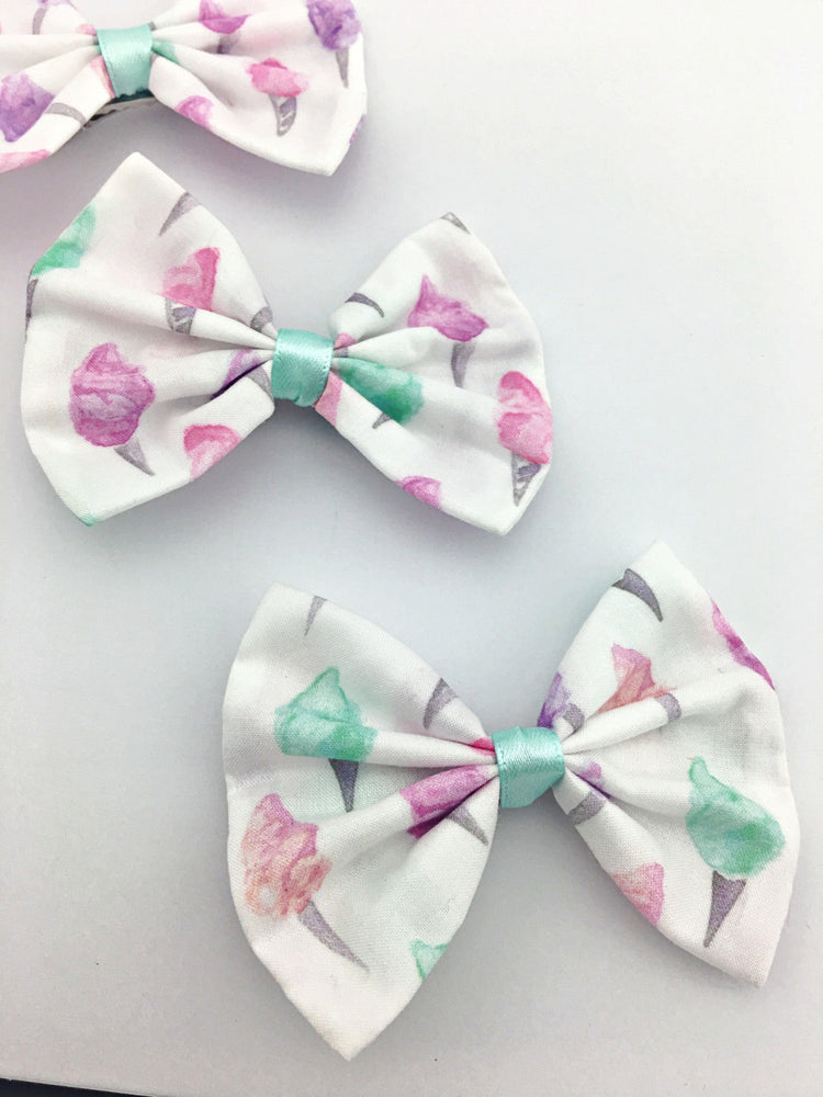 Pastel Sweet Fairy Floss Printed on White Medium Hair Bow Cute & Girly Hair Clip