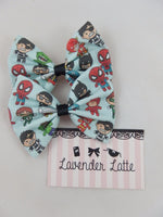 Super Heroes Fabric Hair Bow - Cute Comic Book Characters Handmade Hair Clip