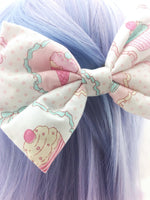 Pastel Ice Cream & Cupcakes Kawaii Printed Large Hair Bow