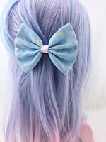 Pastel Blue with Sprinkles and Pink Centre Fabric Hair Bow Kawaii Cupcake Clip