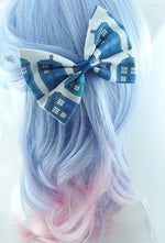 Fabric Hair Bow made from Doctor Who Tardis Police Box Fabric