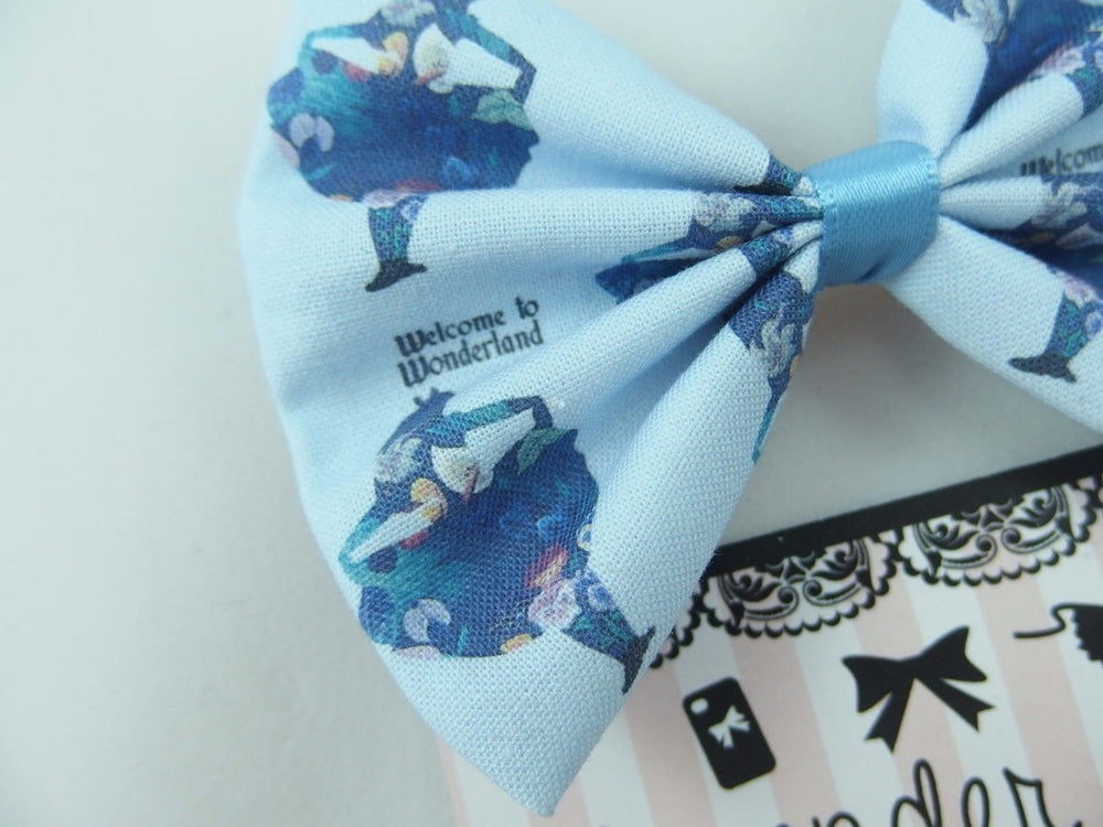 Alice in Wonderland Pastel Blue Handmade Fabric Hair Bow