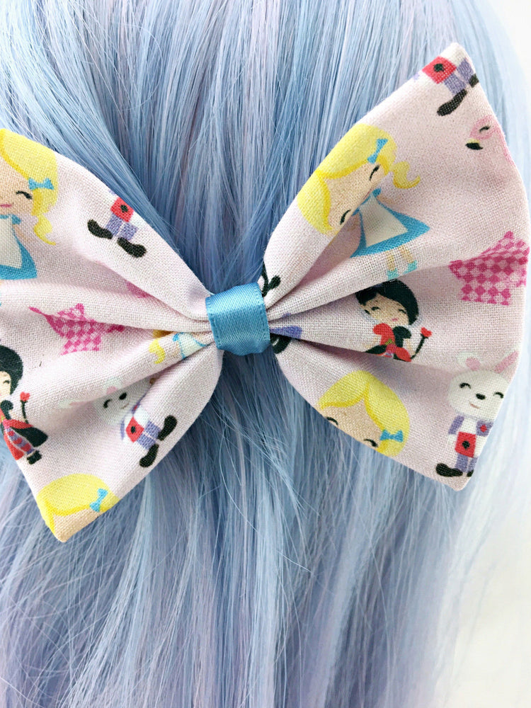 Pastel Pink Alice in Wonderland Kawaii Medium Fabric Hair Bow