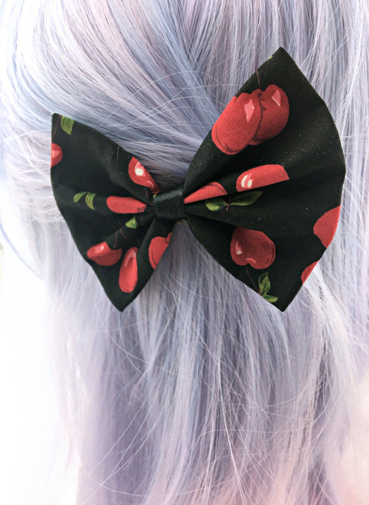 Cherry Print on Black Fabric Hair Bow - Pin Up Rockabilly Inspired Hair Clip