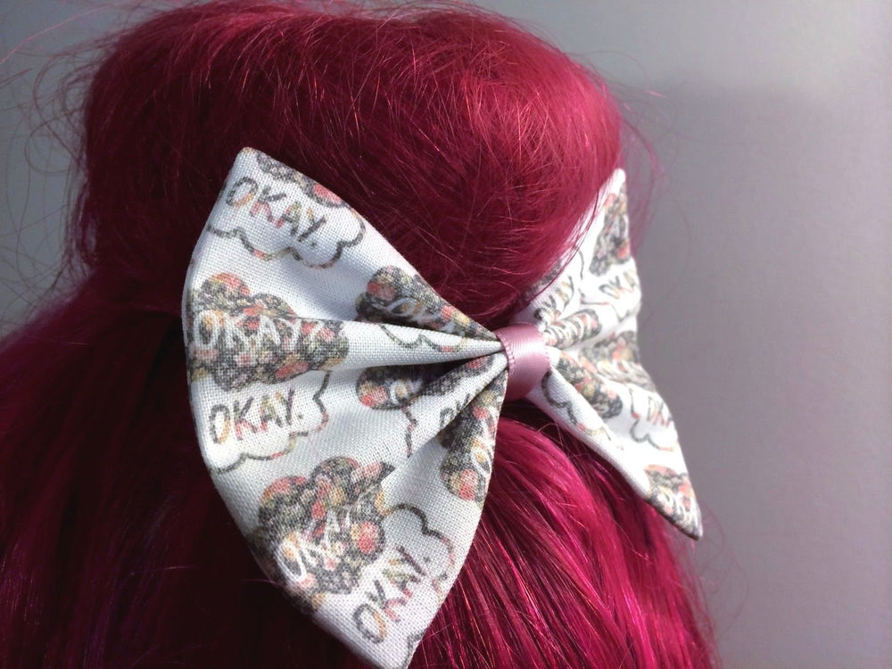 CLEARANCE! TFIOS Floral Pastel Print Medium Handmade Hair Bow -  Okay? Okay Clouds