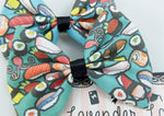 Sushi Print Teal Medium Hair Bow  Handmade Kawaii Food Hair Clip