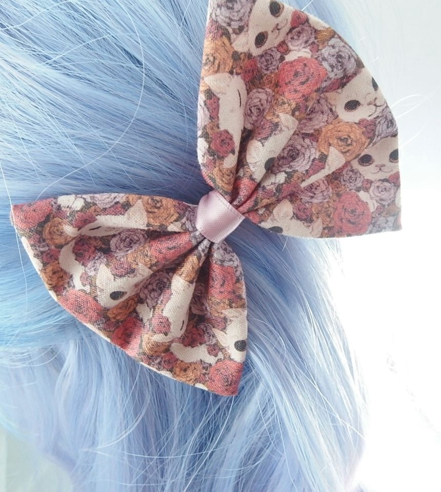 Kawaii Cats and Roses Handmade Fabric Hair Bow Cute Girly Hair Clip Accessory