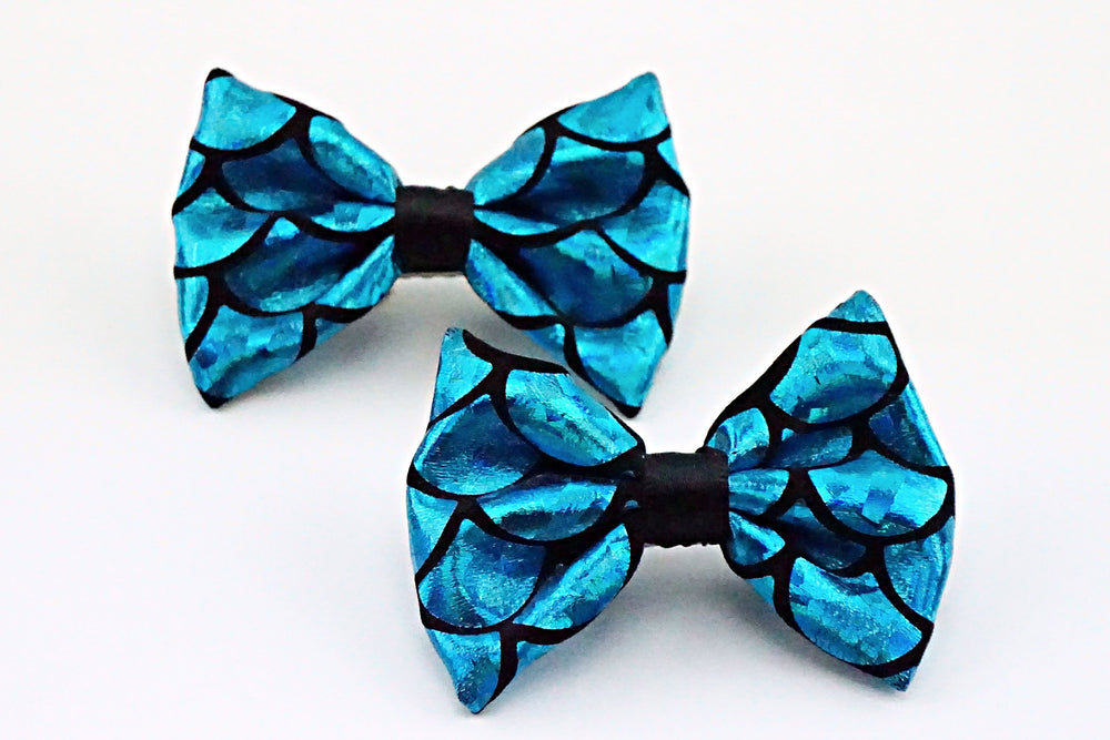 Blue Mermaid Scales Sparkly Fabric Small Hair Bow