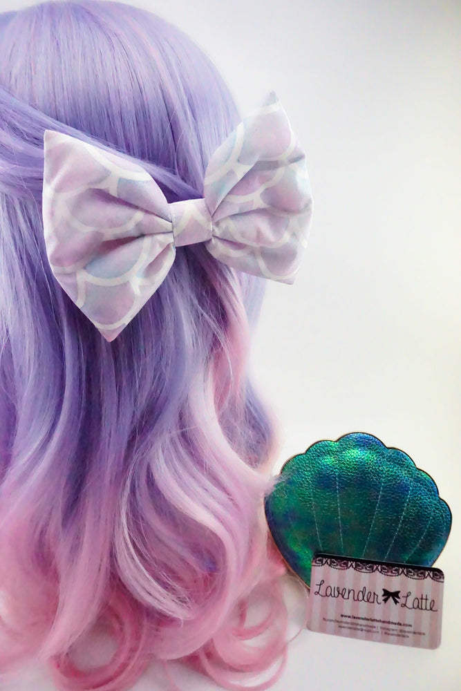 Mermaid Scales Watercolour Pastel Large Fabric Bow