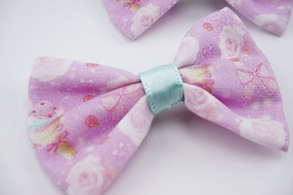 Kawaii Pastel Mint Ice Cream and Roses Lilac Fabric Small Hair Bow
