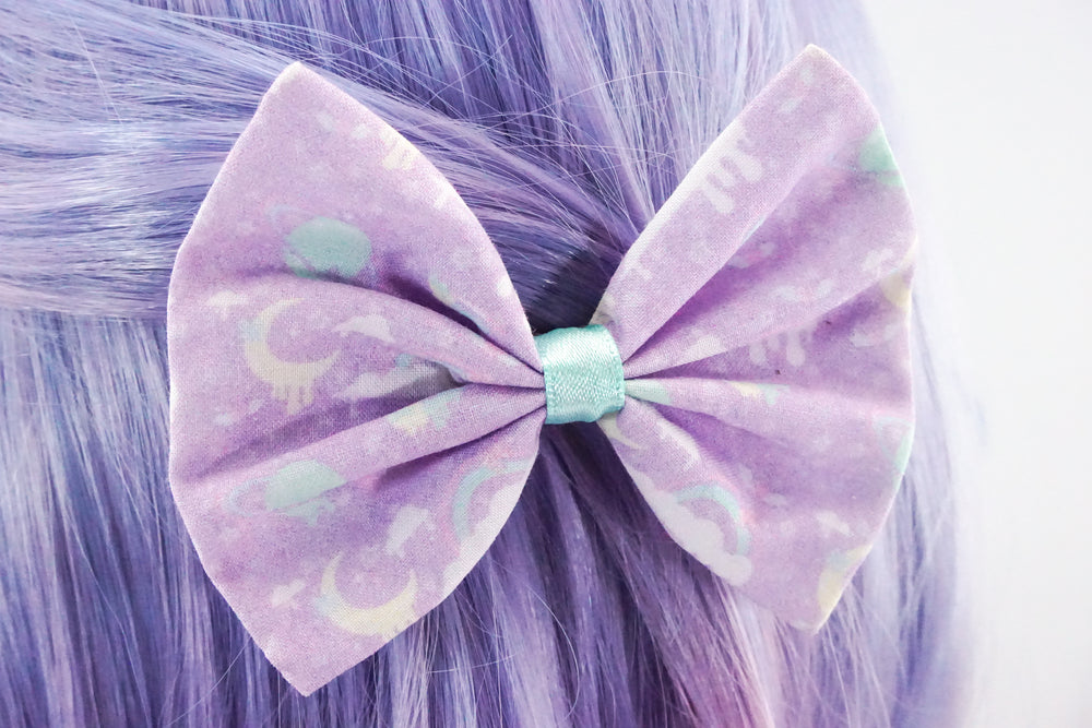 Lilac Kawaii Pastel Galaxy 2.0 Nebular Handmade Medium Hair Bow