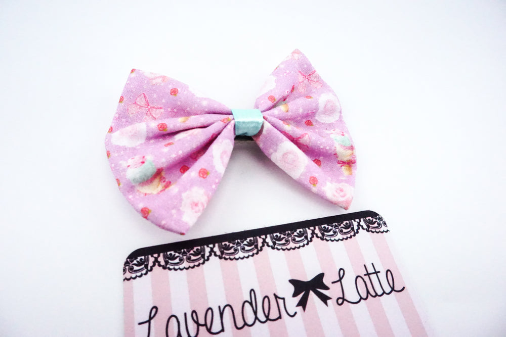 Pastel Mint Ice Cream and Roses - Lilac Fabric Hair Bow - Super Kawaii