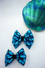 Blue Mermaid Scales Sparkly Fabric Medium Hair Bow