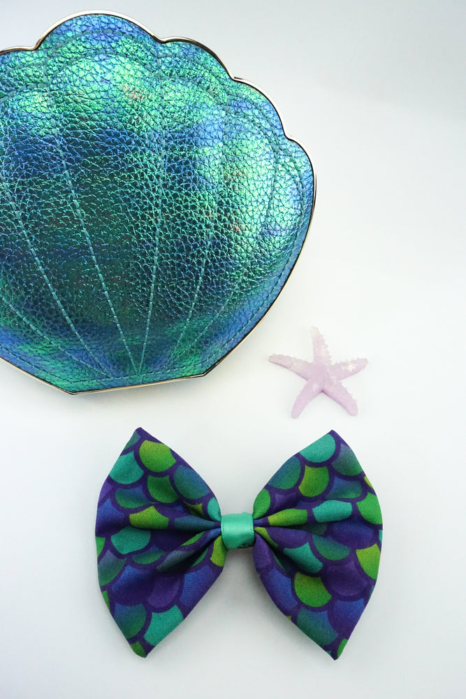 Teal Mermaid Scales Handmade Hair Bow Aqua Ariel Hair Clip Accessory