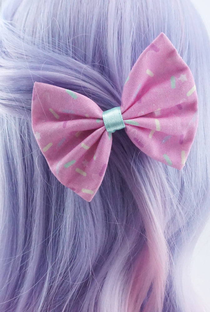 Pastel Pink with Sprinkles Medium Fabric Hair Bow Kawaii Cupcake Hair Clip