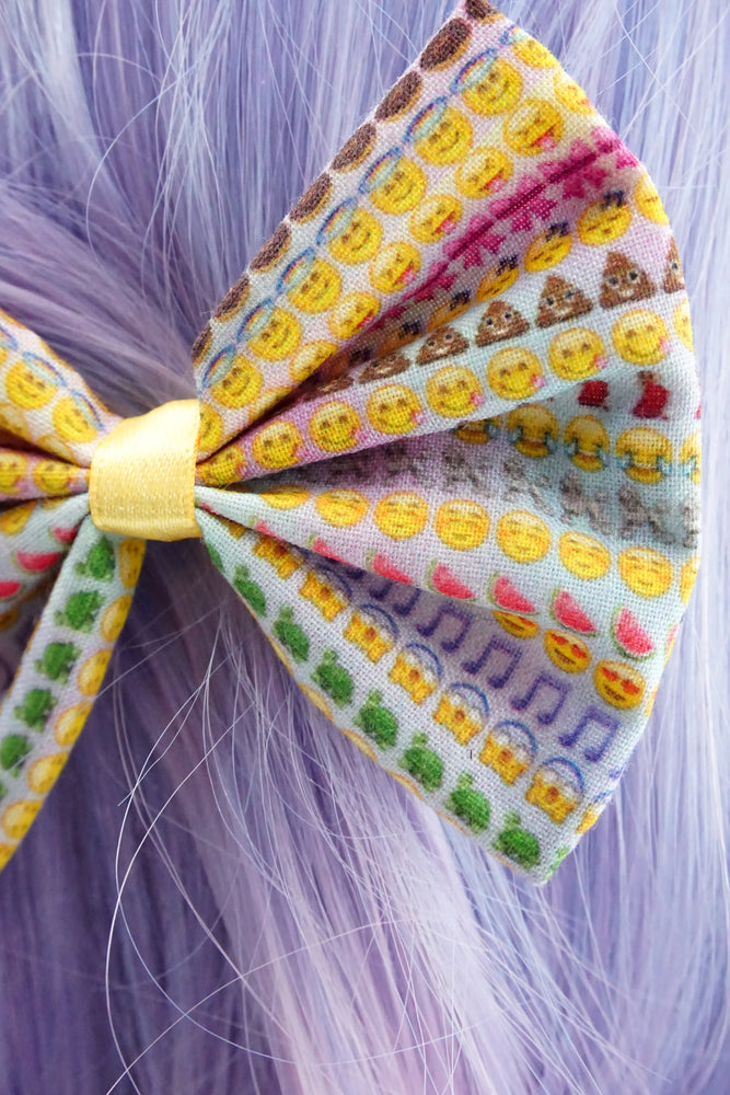 Rainbow Emoji Girly Handmade Hair Bow with Clip Emoticon Icon Hair Accessory