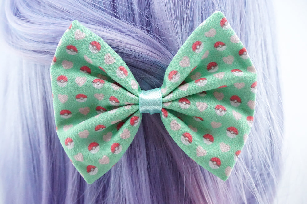 Pokeball Mint Hair Bow Pastel Pikachu Pokemon Gamer Girl Accessories