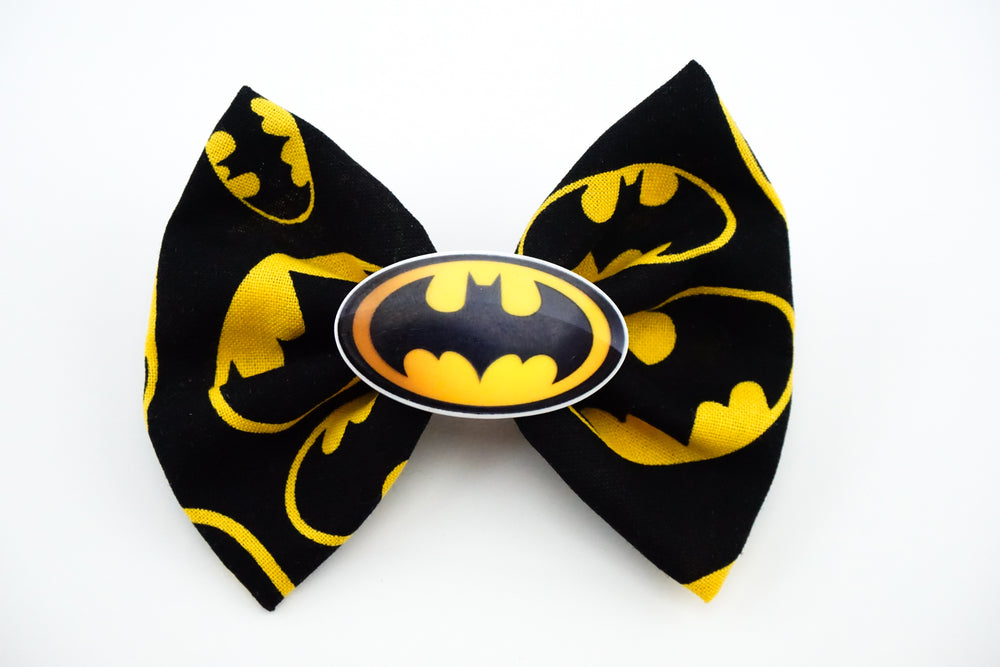Batman Black and Yellow Medium Fabric Hair Bow with Logo Centre - Superhero Geeky Hair Clip