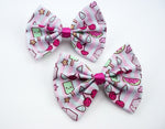 Kawaii Food & Drink Medium Fabric Hair Bow print with Pastel Stripe Background