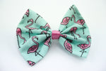 Pastel Flamingo Print Fabric Medium Hair Bow Hair Accessory