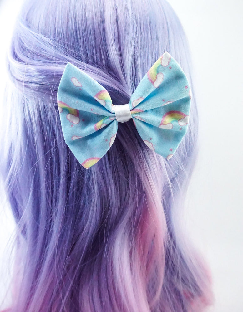 Kawaii Pastel Blue Rainbow & Clouds Handmade Medium Fabric Hair Bow Hair Clip Fairy Kei