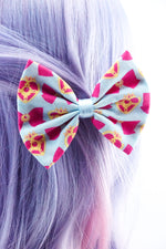 Sailor Moon Blue and Hot Pink Fabric Medium Hair Bow Sailor Scouts Anime 90s Kawaii
