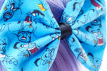 Fairytale Genie Printed Fabric Hair Bow - Blue Handmade Hair Clip
