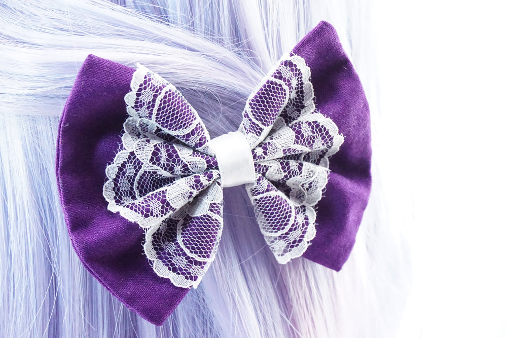 Purple Medium Fabric Hair Bow with Pure White Lace Centre Overlay