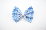 Light Blue Polkadot Medium Fabric Hair Bow with White Lace Overlay