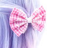 Light Pink and White Check Gingham Hair Bow with White Lace Overlay