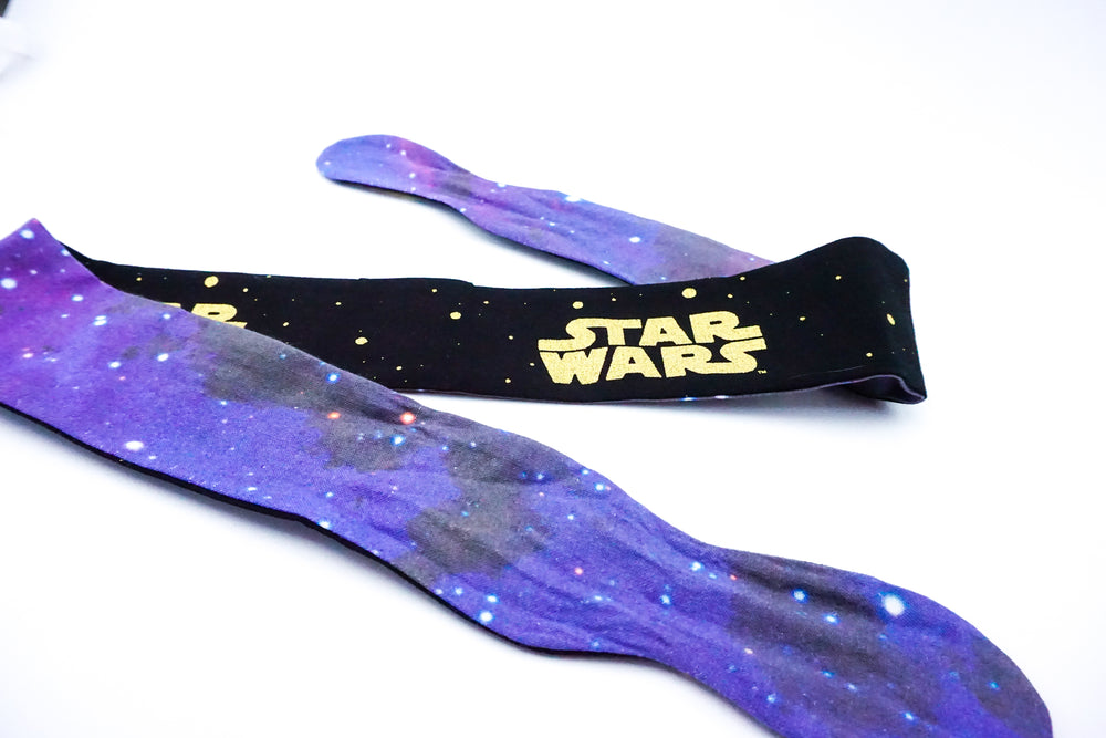 Yellow & Black Star Wars Handmade Reversible Head Tie with Galaxy Print