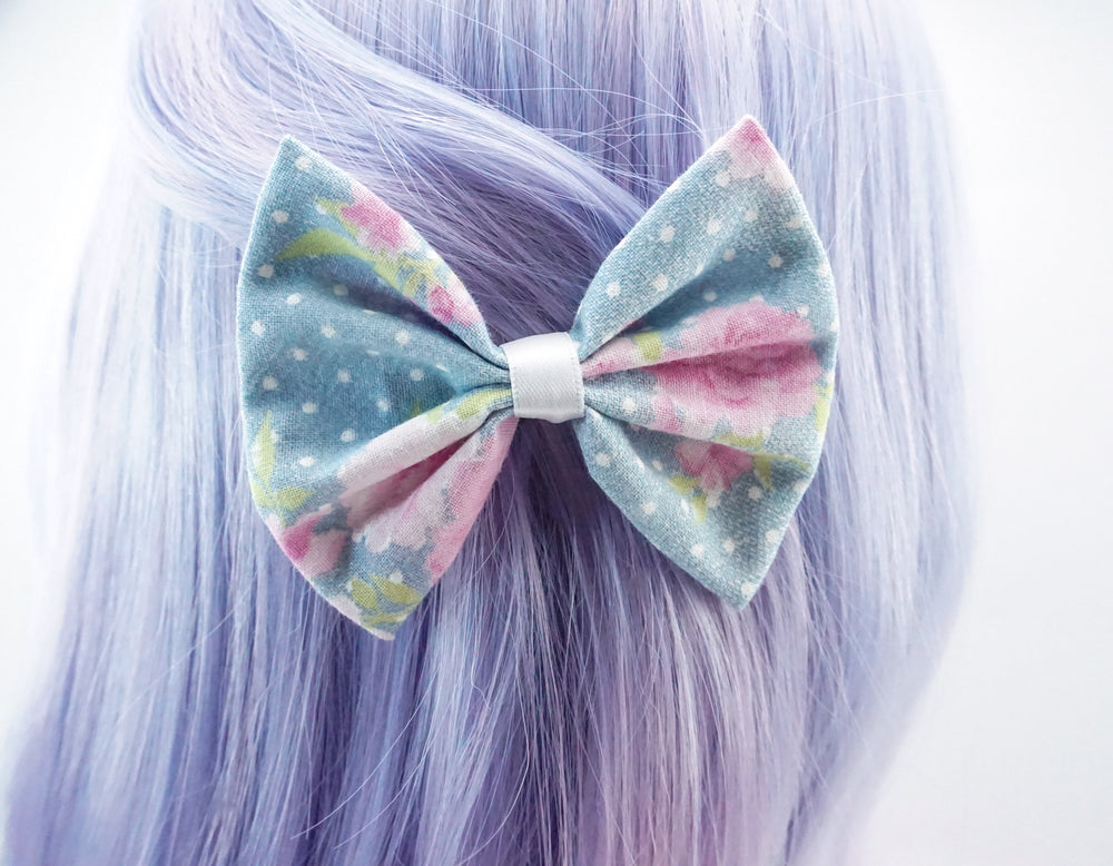 Light Blue with Pink Roses and Polkadots Medium Fabric Hair Bow Floral Hair Clip Accessory
