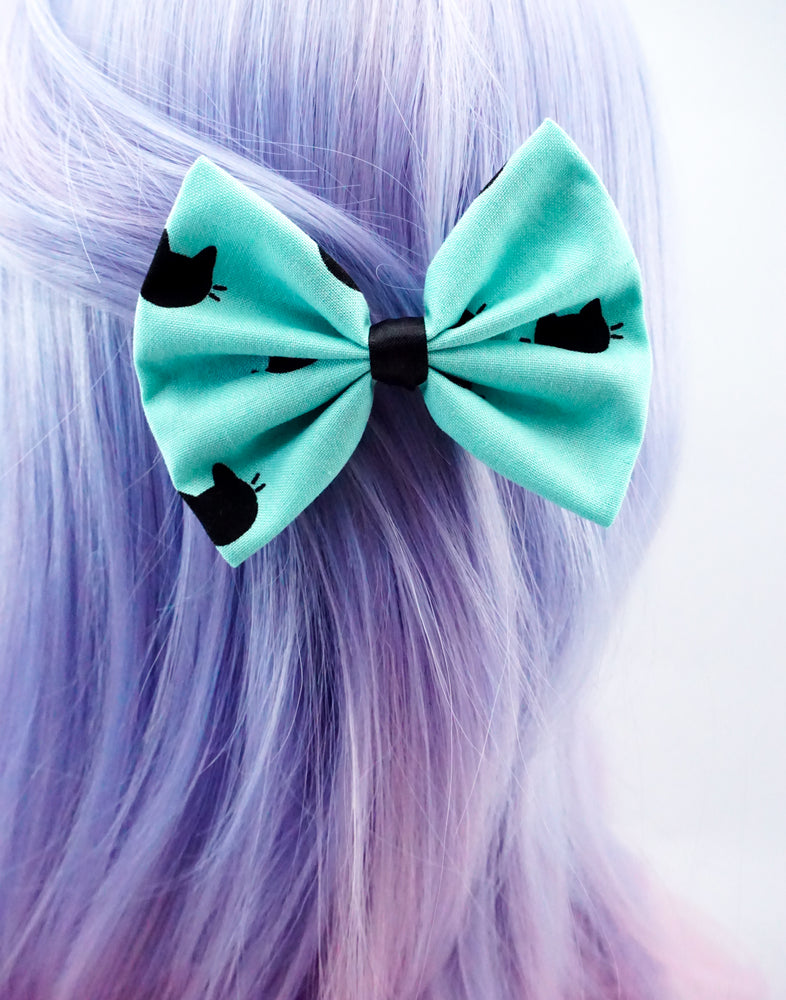 Aqua Blue with Black Cat Print Fabric Medium Hair Bow - Pastel Hair Clip