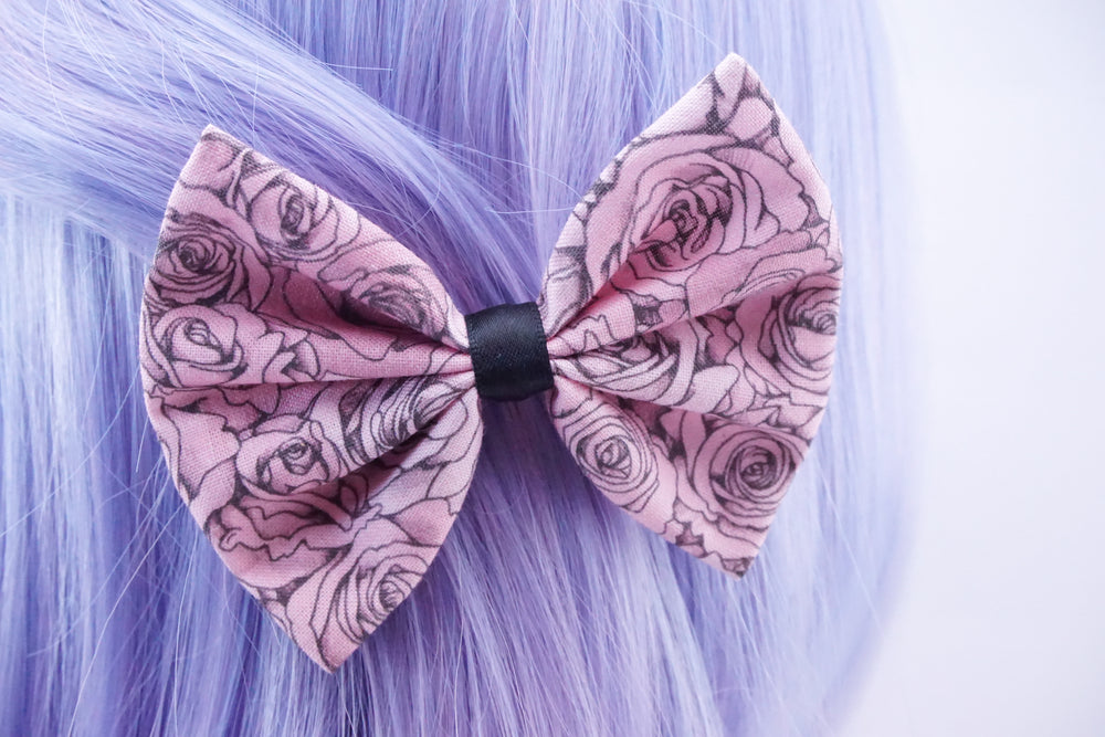 Pink Shaded Roses Handmade Fabric Hair Bow Floral Hair Clip Accessory