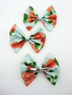 Light Blue with Orange Roses Medium Fabric Hair Bow Floral Hair Clip Accessory