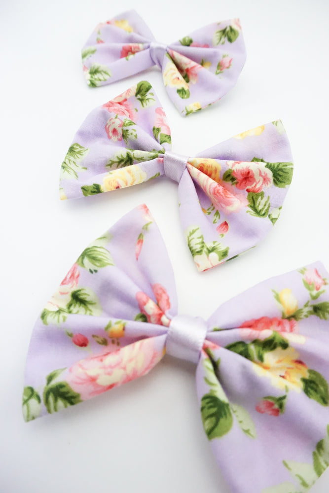 Pastel Purple Floral Print Medium Fabric Hair Bow Floral Hair Clip Accessory
